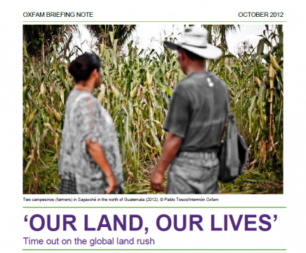 """Our land, our lives"", report from Oxfam"