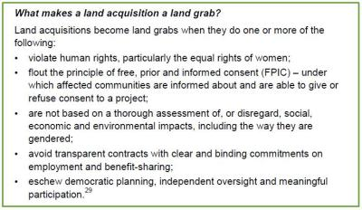 What makes land acquisition a land grab?