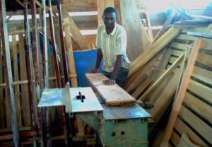 Wamala working at his workshop