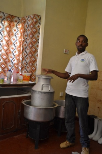 Wilfred in his kitchen where he makes the yoghurt.