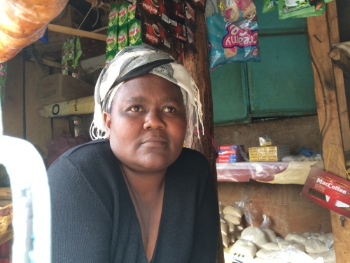 Mama Anne in her little shop in Kawangware, Nairobi