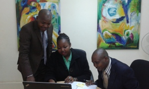 Dickson, Carol and Julius at the MYC4 Nairobi office