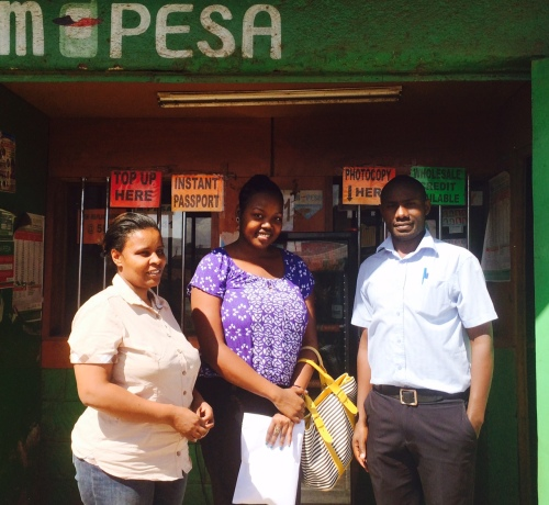 Elizabeth (MYC4 borrower), Caroline (MYC4 Communication Officer) and Ezekiel (Premier Kenya Kawangware Branch Manager)