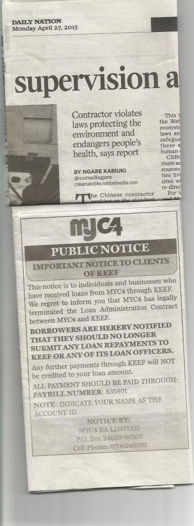 Myc4 Public Notice, Daily Nation